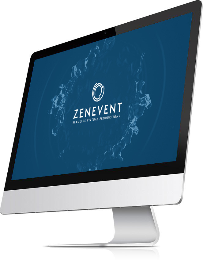 mac with a mockup screen of zenevent logo with a ripple