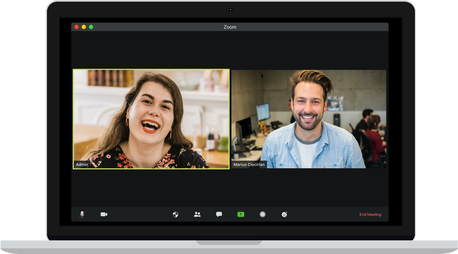 people speak on a zoom call on a laptop